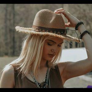 Frayed Trim Aztec Fedora Straw Hat Styline NWT